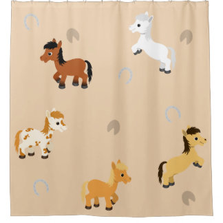 Any Color Background Cute Horse and Pony Pattern Shower Curtain