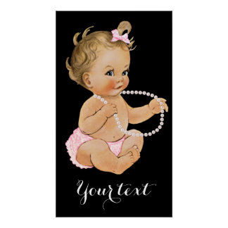 Any Color Background Girl Baby Shower Poster