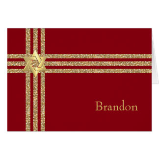 Any Color Bar Mitzvah with Gold Glitter Accents Note Card