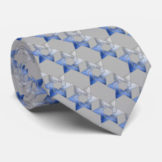 Any Color Blue and Gray Star of David Pattern Tie