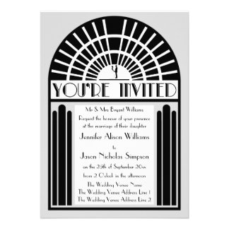 Any Color Bold Art Deco Style Wedding Invitations