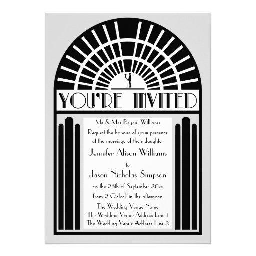 Any Color Bold Art Deco Style Wedding Invitations