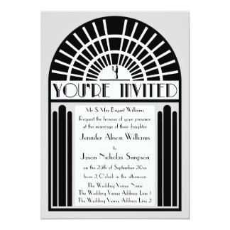 "Any Color Bold Art Deco Style Wedding Invitations 5"" X 7"" Invitation Card"