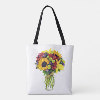 Any Color Chalk Board Sunflower Bouquet Tote Bag