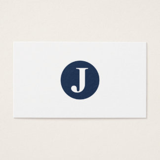 Any Color Circle! Simple Plain Classic Monogram Business Card