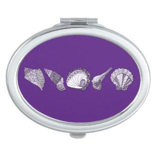 Any Color Customizable Seashells Travel Mirrors