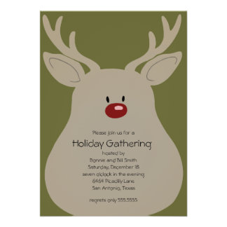 Any Color Goofy Reindeer Holiday Party Invitation
