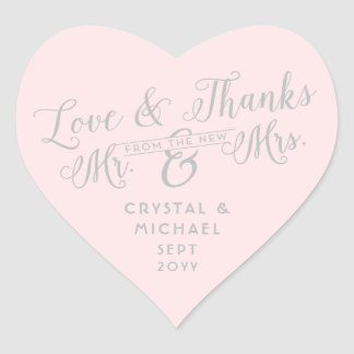 Any Color Heart - Silver Love and Thanks Wedding Heart Sticker