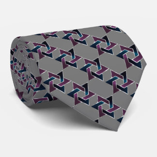 Any Color Purple and Blue Star of David Pattern Tie