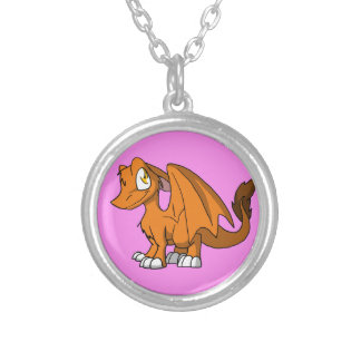 Any Color SD Furry Dragon w/ Pink Background Custom Necklace