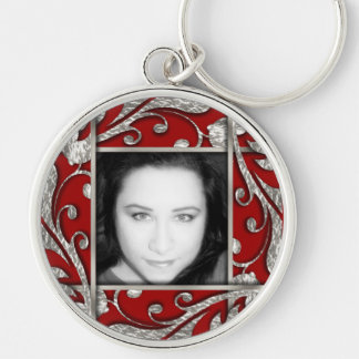 Any Color Silver Lattice Photo Frame Silver-Colored Round Key Ring