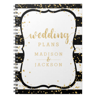 Any Color Stripes & Gold Confetti Wedding Planner Notebook