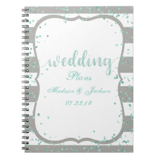 Any Color Stripes & Mint Confetti Wedding Planner Notebooks