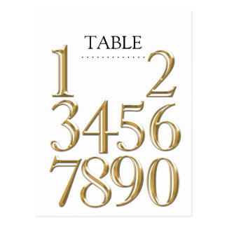 Any Color Table Numbers Block Gold Postcard