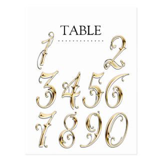 Any Color Table Numbers Fancy Gold Postcard