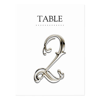 Any Color Table Numbers Fancy Silver Postcard