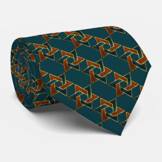 Any Color Teal and Rust Star of David Pattern Tie