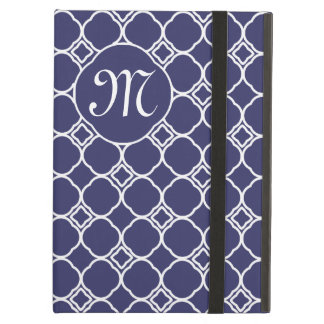Any Color Vintage Quatrefoil Pattern with Monogram Case For iPad Air