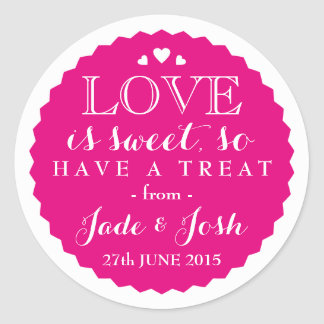 ANY COLOR Wedding Favor Sweet Jar Round Classic Round Sticker
