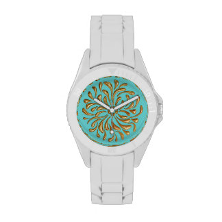 Any Color with Gold Abstract Design Wristwatches