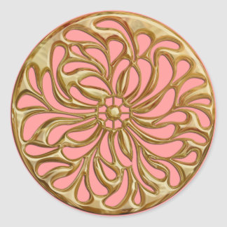 Any Color with Gold Design Seal Round Sticker