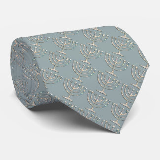 Any Color with Pearly Menorah Pattern Tie