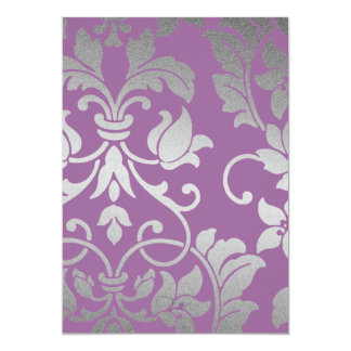 Any Color with Silver Damask Bat Mitzvah 5x7 Paper Invitation Card