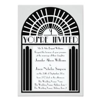 Any Colour Bold Art Deco Style Wedding Invitations