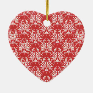 Any Colour Damask Ceramic Heart Decoration