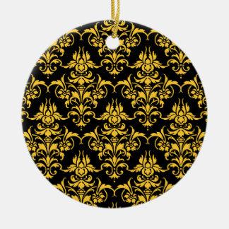 Any Colour Damask On Black! Round Ceramic Decoration