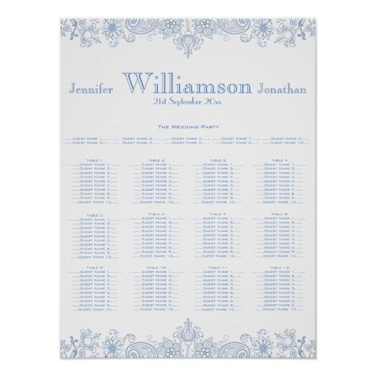 Any Colour Flowers - Foliage Wedding Seating Chart