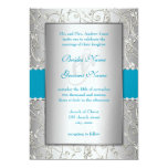 Any Colour Silver Swirl Wedding 13 Cm X 18 Cm Invitation Card