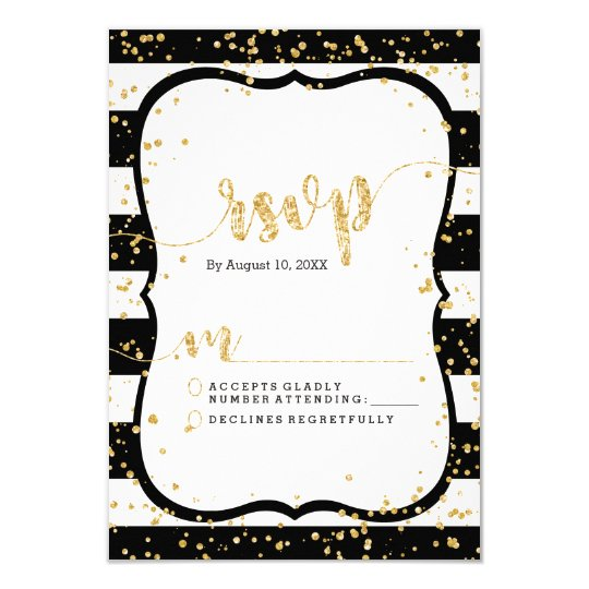 Any Colour Stripes & Gold Wedding RSVP Response