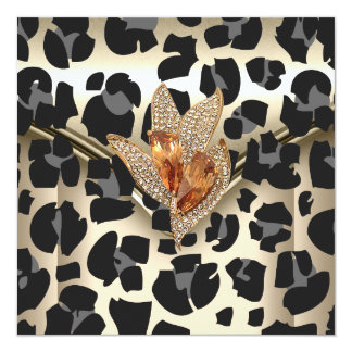 Any Event Elegant Animal Caramel Cream Black Gold 13 Cm X 13 Cm Square Invitation Card