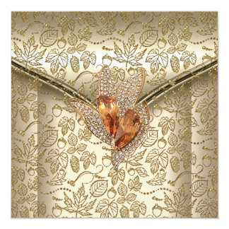 Any Event Elegant Damask Caramel Cream Beige Gold 13 Cm X 13 Cm Square Invitation Card