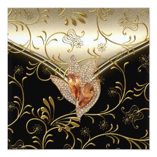 Any Event Elegant Damask Caramel Cream Beige Gold Card