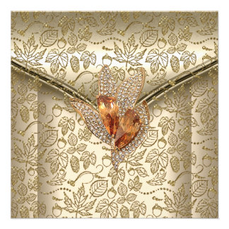 Any Event Elegant Damask Caramel Cream Beige Gold Personalized Invitations