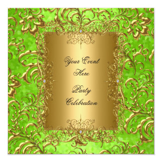 Any Event Lime Green Royal Gold Damask Floral 13 Cm X 13 Cm Square Invitation Card
