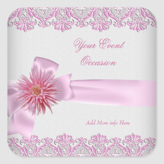 Any Event White Pretty Pink Floral Dahlia Square Sticker