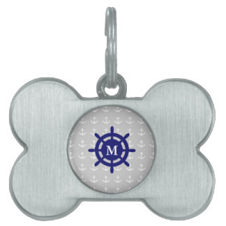 Any Monogram Nautical Anchor Pet Tag