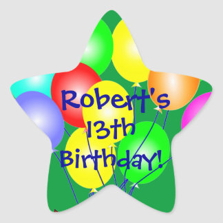 Any Name & Age Colorful Birthday Balloons Stickers