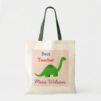 (Any name) Best Teacher Dinosaur Tote Bag
