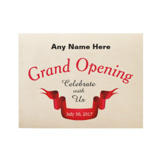 Any Name Grand Opening - Wood Poster
