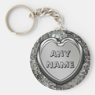Any Name On Silver Heart Keychain