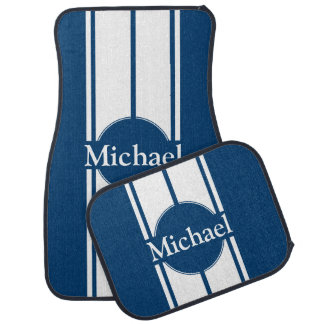 Any Name or Back Color White Racing Stripes Car Mat
