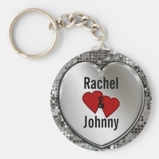 Any Names On Silver Heart Cute Keychain