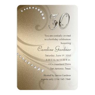 """Any No. Birthday 5x7 Crystals Swirl Set 2000 5"""" X 7"""" Invitation Card"""