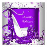 Any Occasion Party Glitter Hot Purple High Heels 13 Cm X 13 Cm Square Invitation Card
