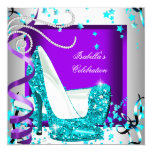 Any Occasion Party Glitter Teal Purple High Heels 13 Cm X 13 Cm Square Invitation Card