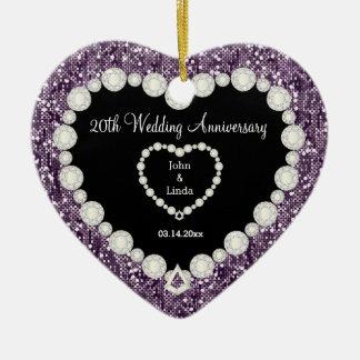 Any Wedding Anniversary Purple Glitter | DIY Text Ceramic Heart Decoration